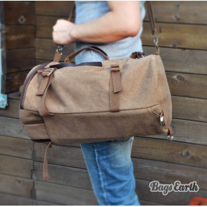 Vintage Coffee Canvas Backpack For Man