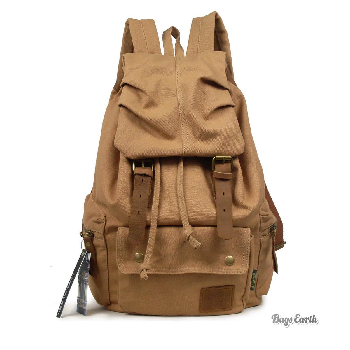 Canvas Travel Rucksack Cool Laptop Backpack Coffee Black