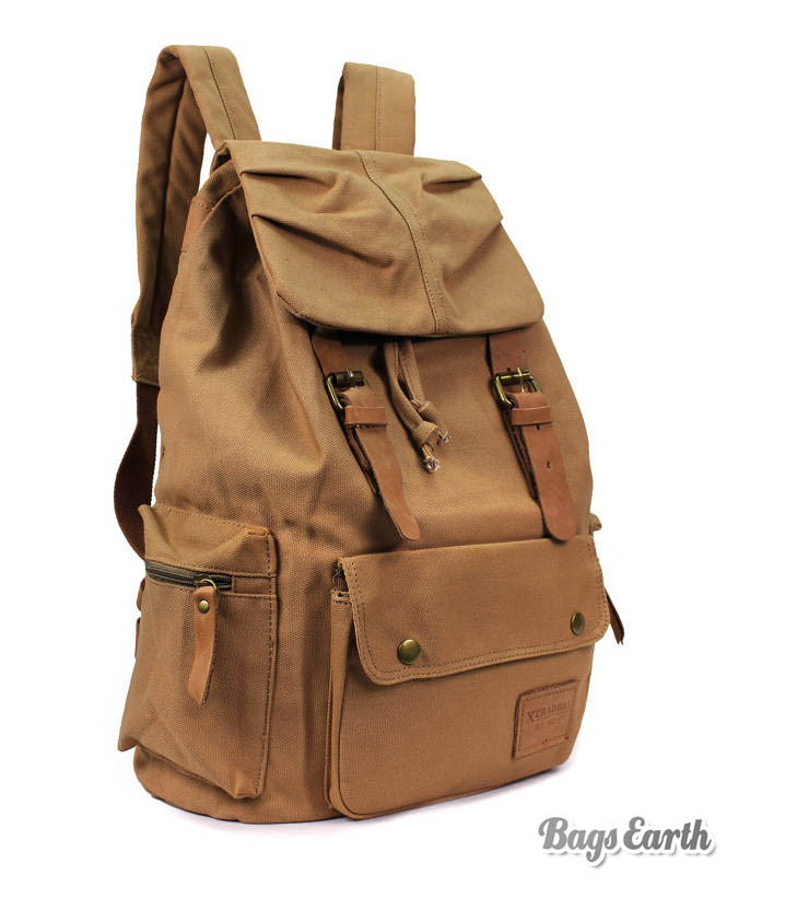 Canvas Travel Rucksack, Cool Laptop Backpack Coffee Black Khaki ...