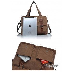 Coffee Laptop Messenger Canvas Bag