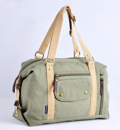 Ladies canvas shoulder bag, canvas purse with pockets - BagsEarth
