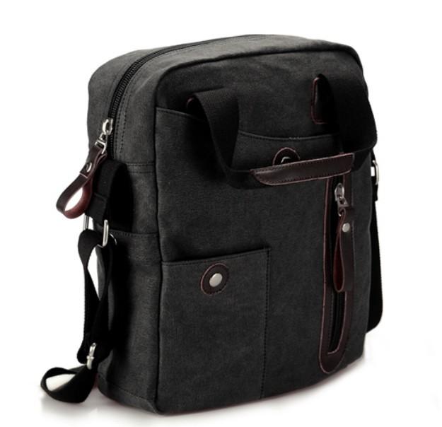 Black canvas messenger bag men, canvas leather messenger bag ...