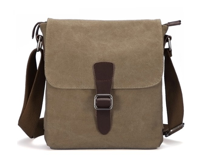 Mens canvas messenger bag, canvas leather messenger bag - BagsEarth
