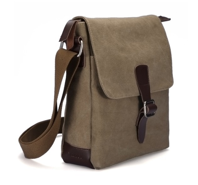 khaki canvas leather messenger bag