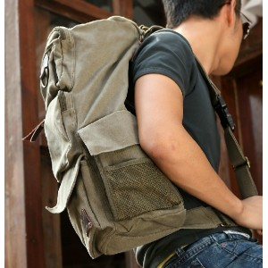 army green single strap backpack