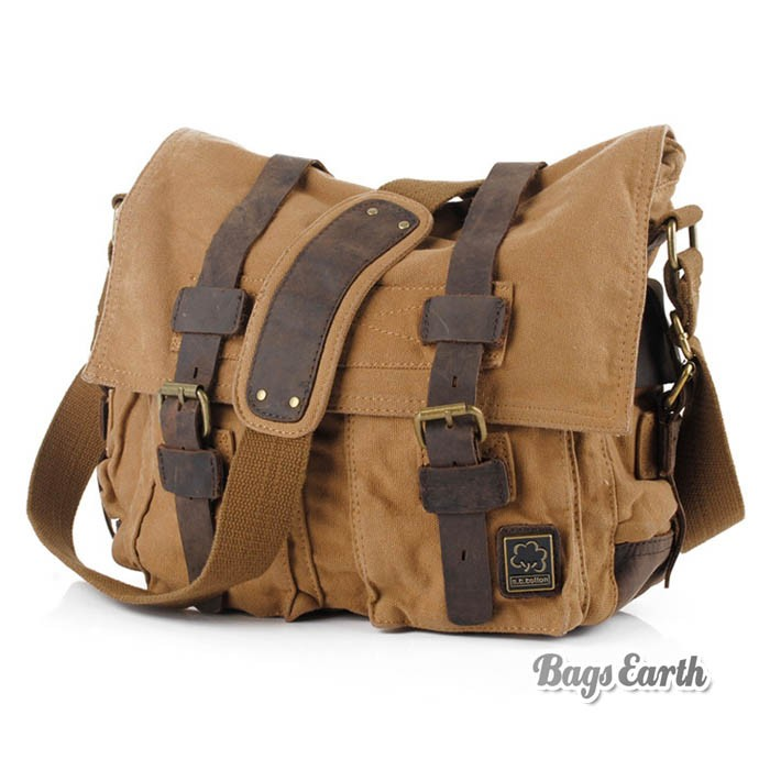 Vintage Canvas Messenger Bag, 13 Inch Laptop Bags Khaki Army Green ...