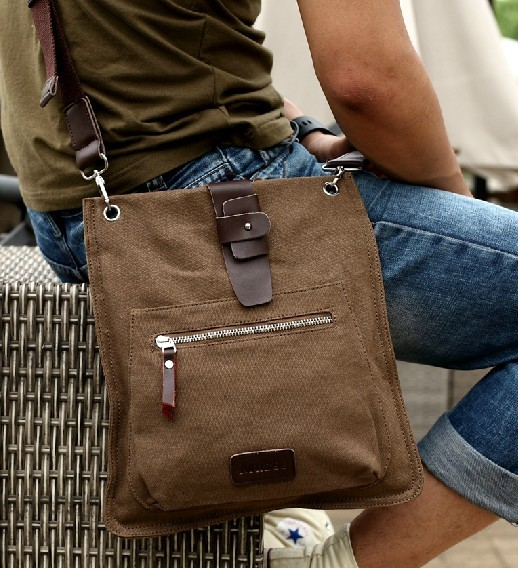 b3a743a153 Mens canvas and leather shoulder bag · men s canvas satchel ...