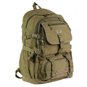 Military canvas backpack men, computer laptop bag