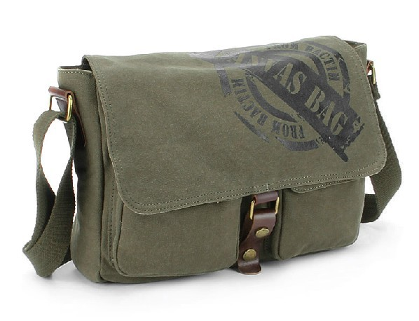 Ipad Mens Canvas Messenger Bag Military
