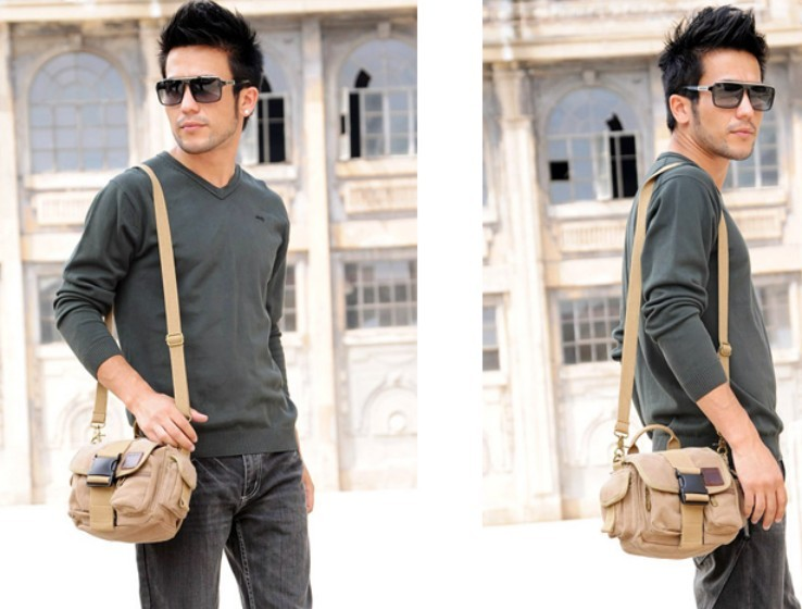 Canvas messenger bag men, canvas fanny pack - BagsEarth