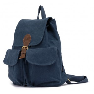 blue girls canvas rucksack backpack