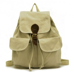 beige Canvas backpack for teenage girls