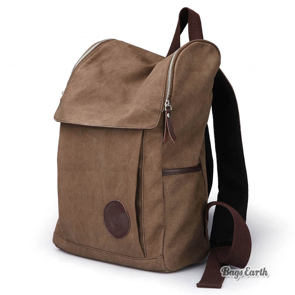 Coffee Canvas Backpack For Men, Black Canvas Knapsacks Backpacks ...