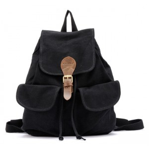 black Canvas backpack for teenage girls