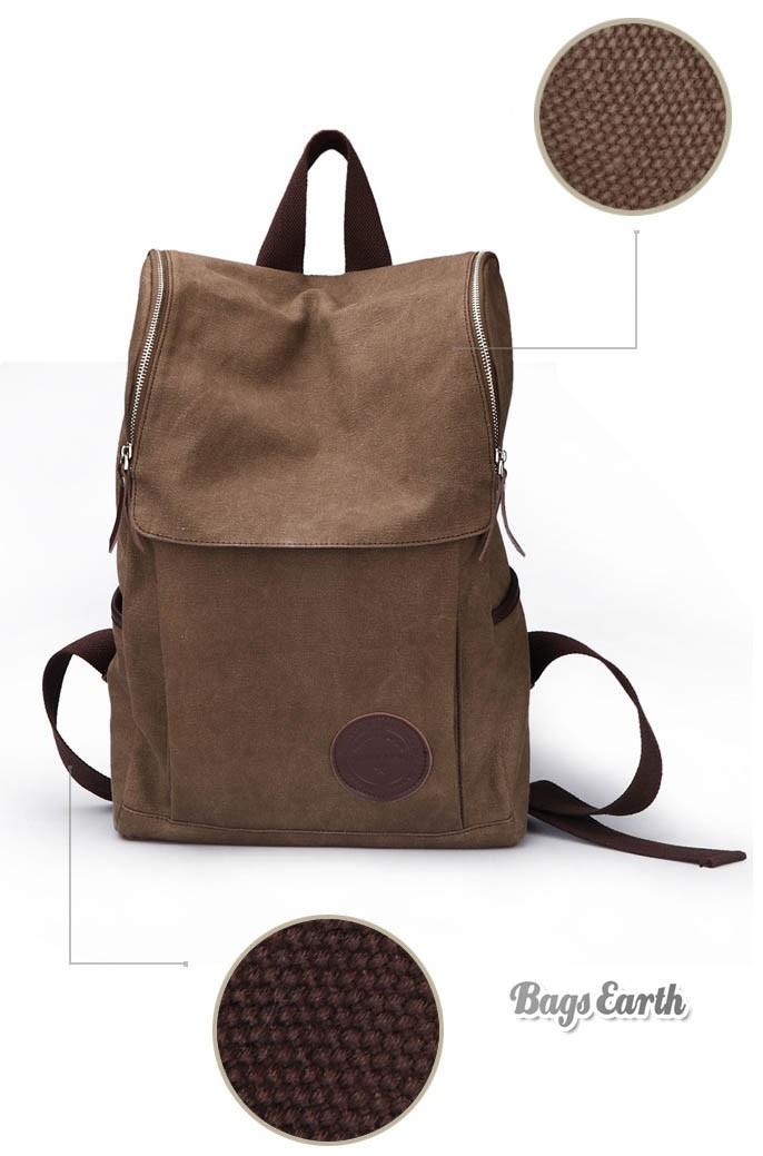 Coffee Canvas Backpack For Men Black Canvas Knapsacks