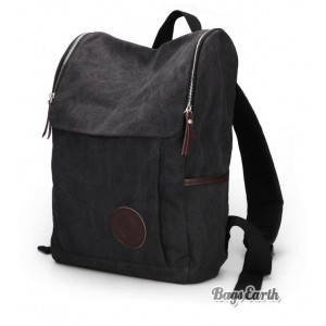 Black Canvas Knapsacks Backpacks