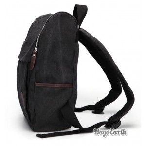 Black Canvas Backpack For Men