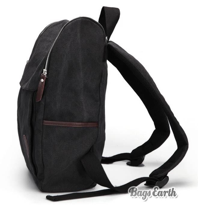 Coffee Canvas Backpack For Men, Black Canvas Knapsacks Backpacks ...