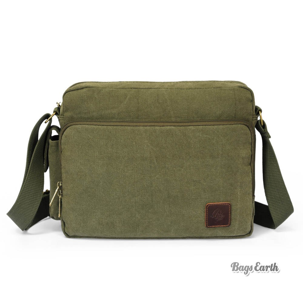 Army Green Canvas Messenger Bag, Black Classics Ipad Canvas ...