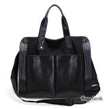 Leisure Leather Canvas Handbag, Black Shoulder Bags