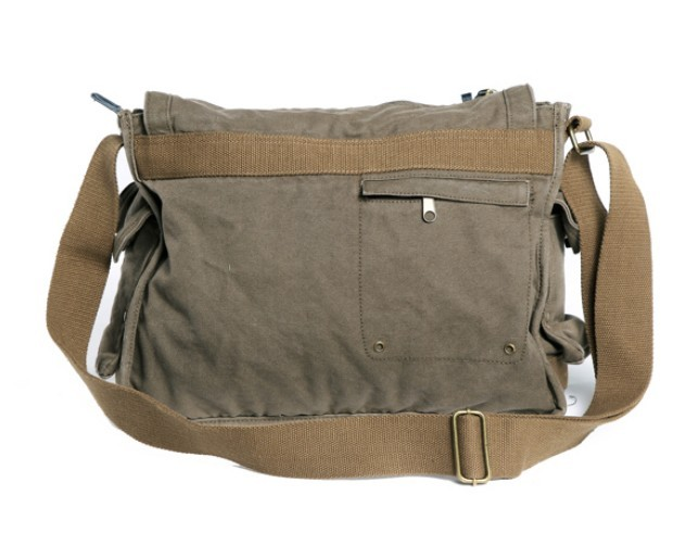 Army Green Travel Messenger Bag Canvas S