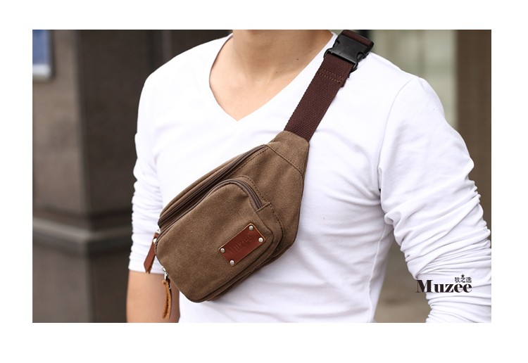 Coffee Funky Canvas Fanny Packs Stylish Men S Canvas