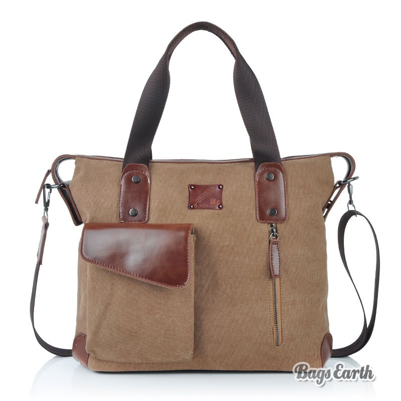 Coffee Canvas Tote Bags With Zipper, Mens Canvas Messenger Bags ...