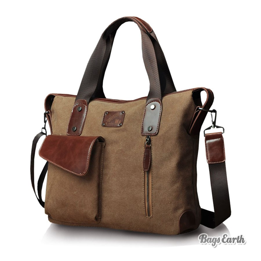 Coffee Canvas Tote Bags With Zipper, Mens Canvas Messenger Bags - BagsEarth