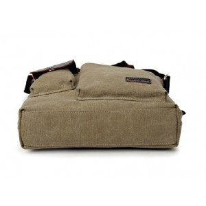 khaki shoulder messenger canvas bag