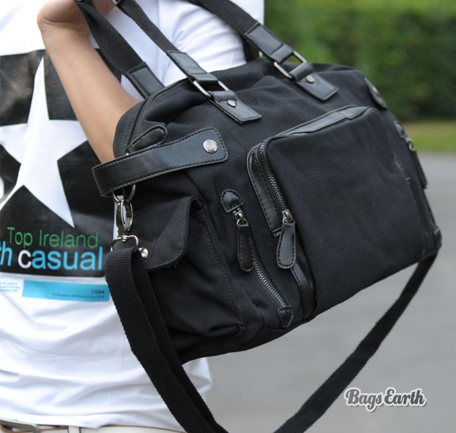 Amazoncom black canvas messenger bag Clothing Shoes