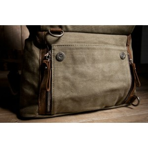 army green Cotton canvas backpack