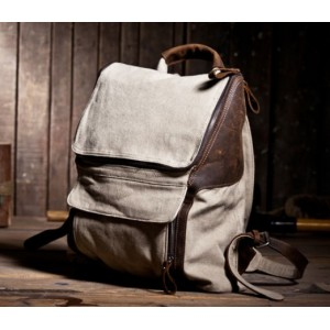 beige Cotton canvas backpack