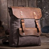 Vintage canvas knapsacks, canvas and leather backpack for men