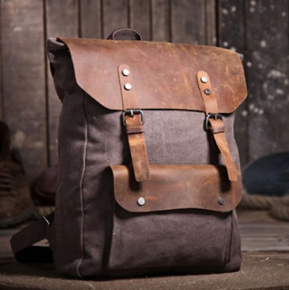 Vintage canvas knapsacks, canvas and leather backpack for men ...