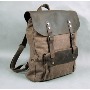 Vintage Canvas Knapsacks Canvas And Leather Backpack For