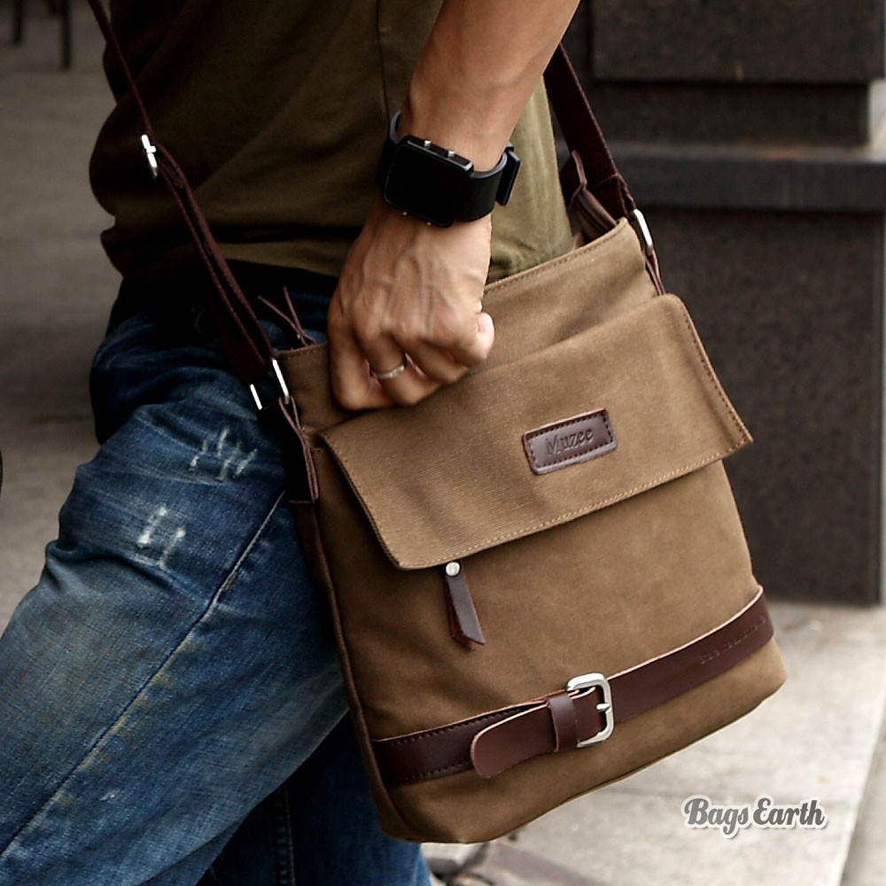 Canvas Shoulder Bag, Coffee Canvas Shoulder Bag Mens - BagsEarth