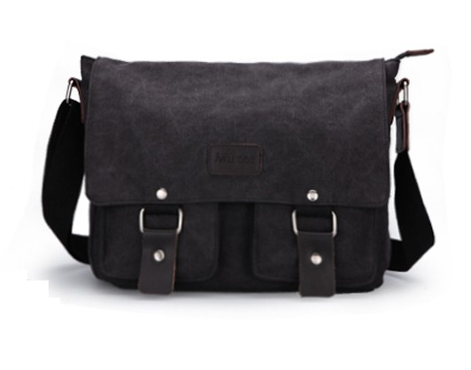 Black Mens Canvas Satchel Bags