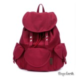 Red Canvas Rucksack For School