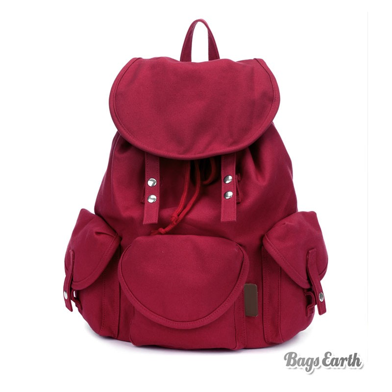 da33cdcdc12 Red Canvas Rucksack For School ...