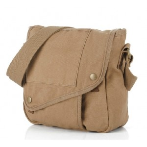 Men messenger bag, small black canvas messenger bag