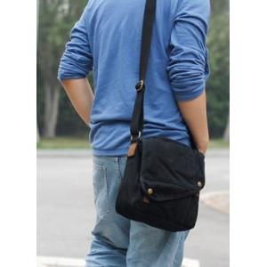 Men messenger bag, small black canvas messenger bag - BagsEarth