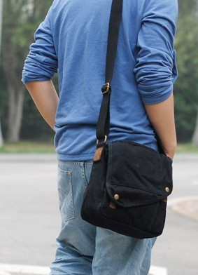 Men messenger bag, small black canvas messenger bag - BagsEarth