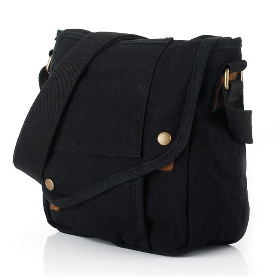 Men messenger bag, small black canvas messenger bag - BagsEarth f697ff99eb