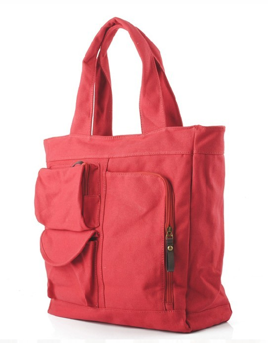 122a0b97e8fd ... red Canvas tote bag with zipper ...