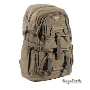 Khaki Canvas Rucksack Laptop