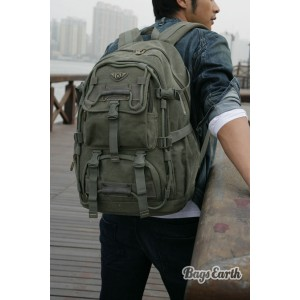 Army Green Canvas Computer Backpack For Men