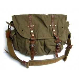Briefcase messenger bag, canvas field bag
