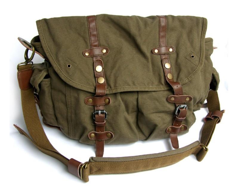 Briefcase messenger bag, canvas field bag - BagsEarth