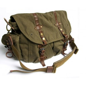 army green canvas field bag