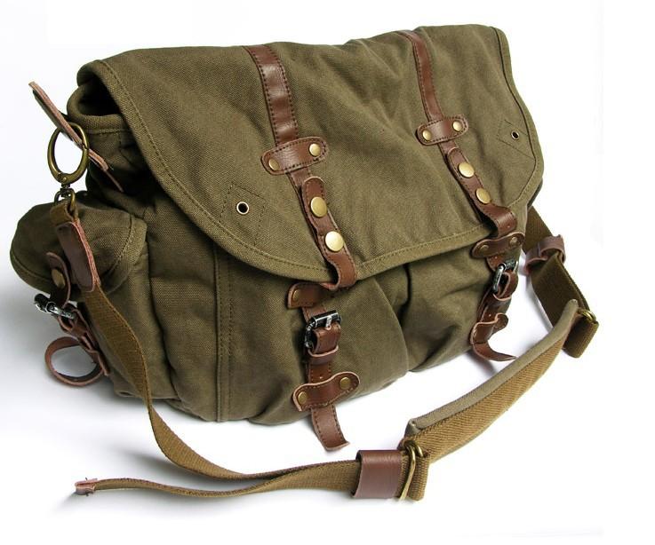 Army Green Briefcase Messenger Bag Canvas Field
